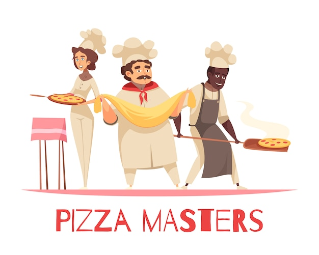 Professional cooking pizza composition Free Vector