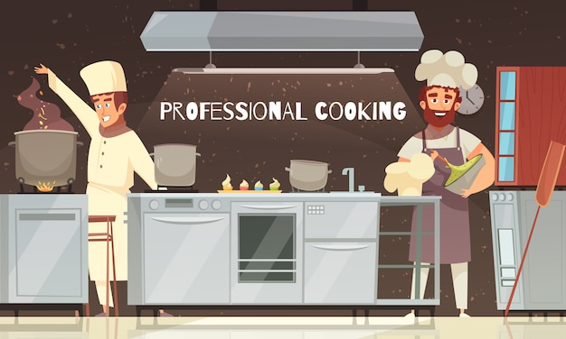 Professional cooking restaurant illustration Free Vector