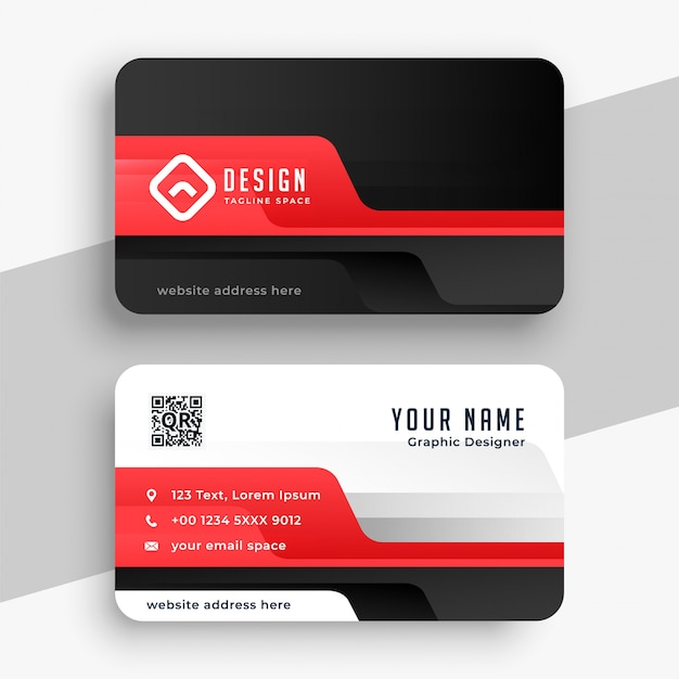 Professional corporate card in red color theme Free Vector