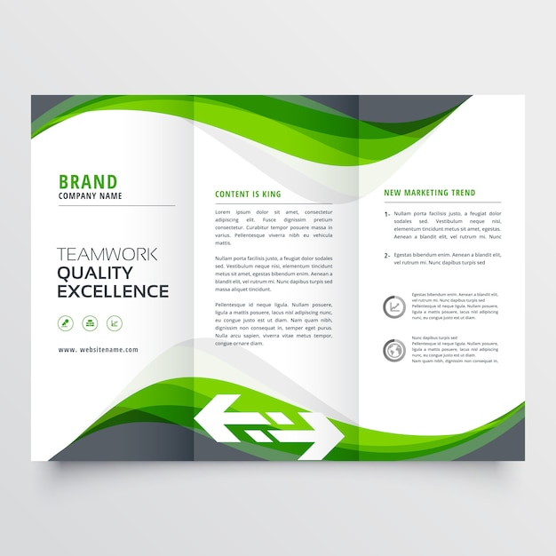 Professional creative green wavy trifold brochure design Free Vector