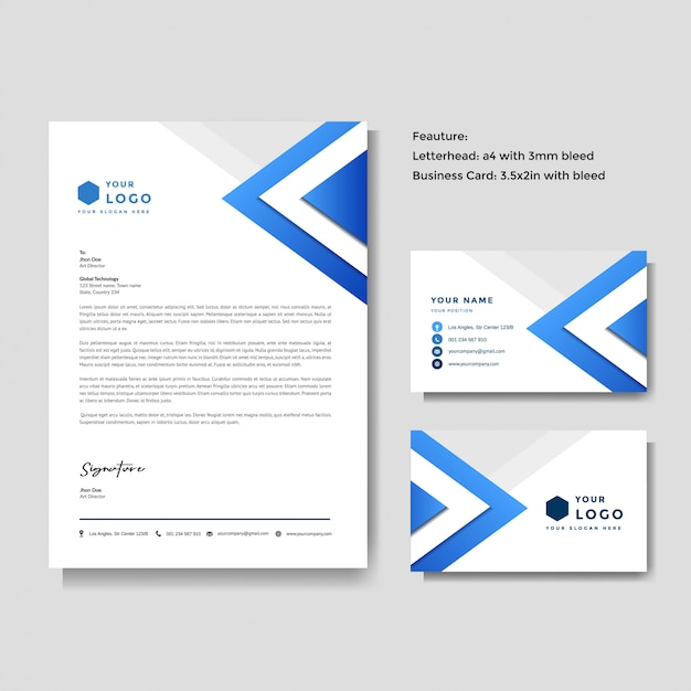 Professional creative letterhead and business card template Premium Vector