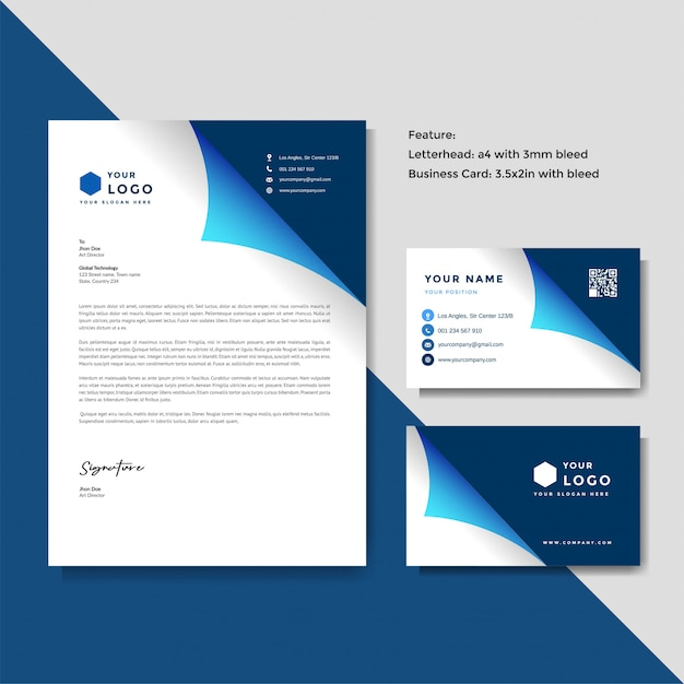 Professional creative letterhead and business card vector template Premium Vector
