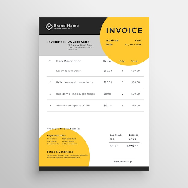 professional creative vector invoice template design