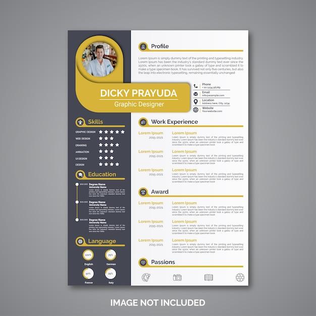 Professional curriculum vitae template Premium Vector
