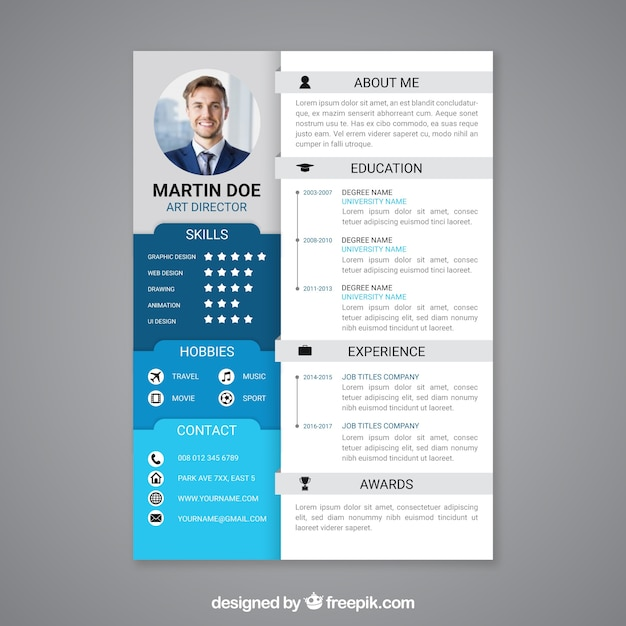 professional curriculum vitae template vector free download