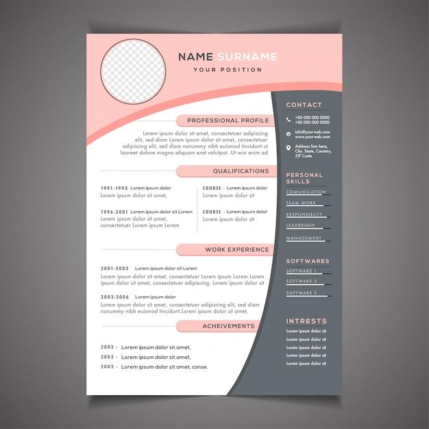 Professional cv resume template design Premium Vector