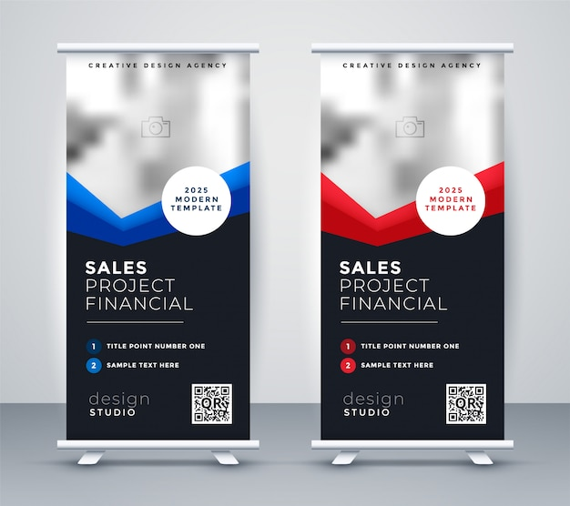 Professional dark company roll up standee banner Free Vector