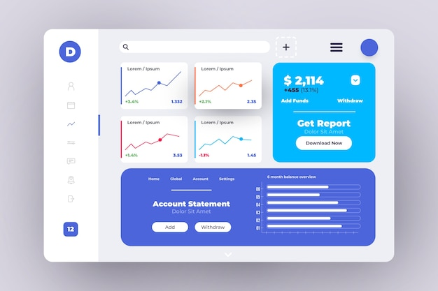Professional dashboard user panel Free Vector