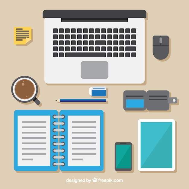 Professional desk with flat design