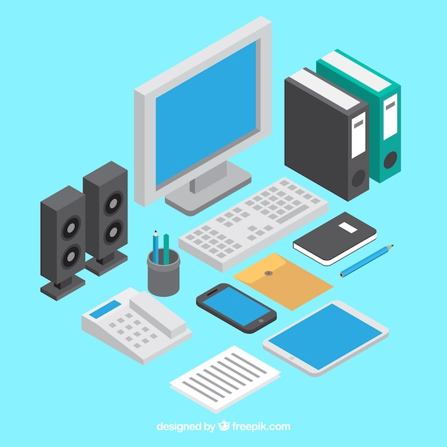 Professional desk with isometric style