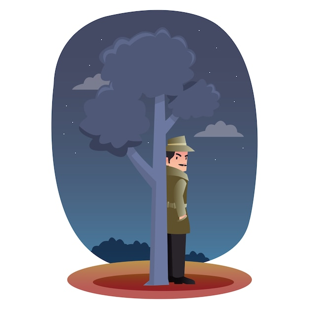 Professional detective hide behind a tree Premium Vector