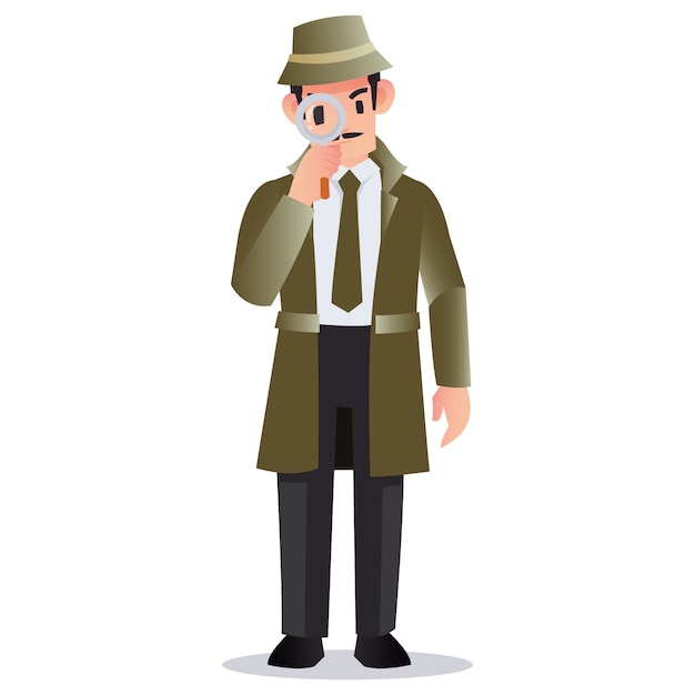 Professional detective holding a magnifying glass to look for evidence Premium Vector