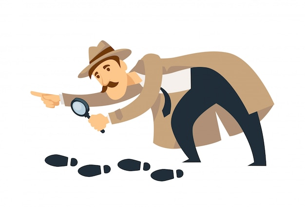 Professional detective with mustaches and magnifier follows footprints Premium Vector