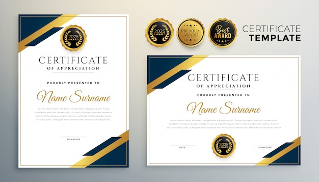 Professional diploma certificate template in premium style Free Vector