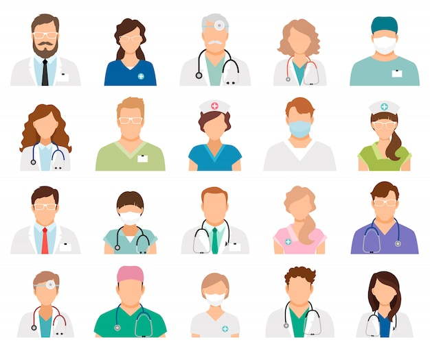 Professional doctor avatars isolated. medicine professionals and medical staff people vector illustration Premium Vector