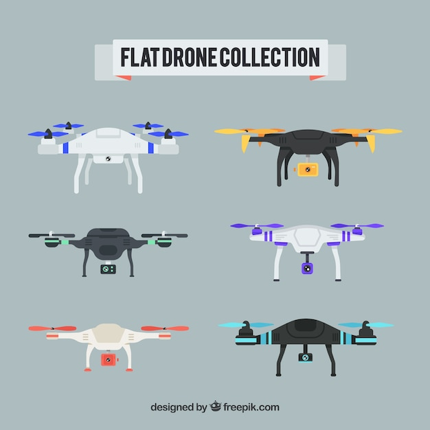 Professional drones with flat design