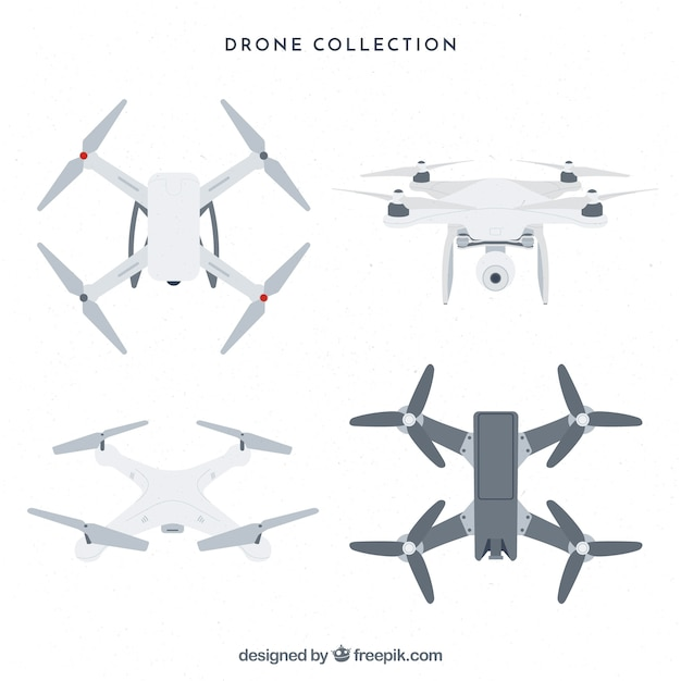 Professional drones with flat design Free Vector