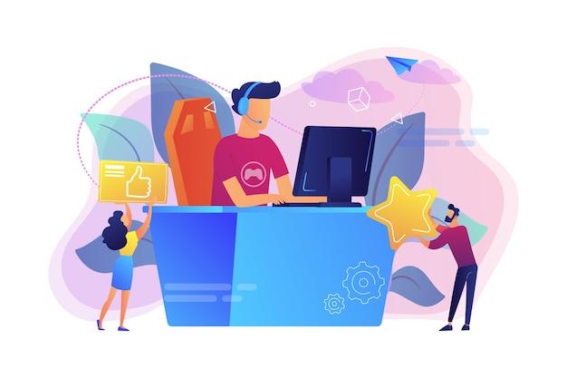 Профессиональный киберспортсмен за столом играет в видеоигры и получает лайки. киберспорт, рынок киберспорта, концепция конкурентных компьютерных игр. Бесплатные векторы