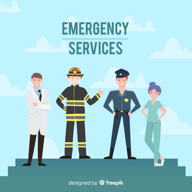 Professional emergency team with flat design Free Vector