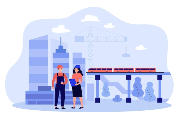 Professional engineers discussing project isolated flat illustration Premium Vector