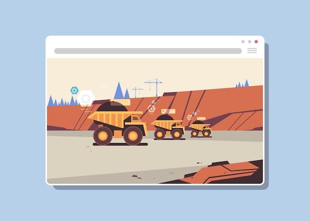 Webブラウザーウィンドウの露天掘りの石の採石場の水平で炭鉱生産デジタル産業に取り組んでいるプロ用機器 Premiumベクター