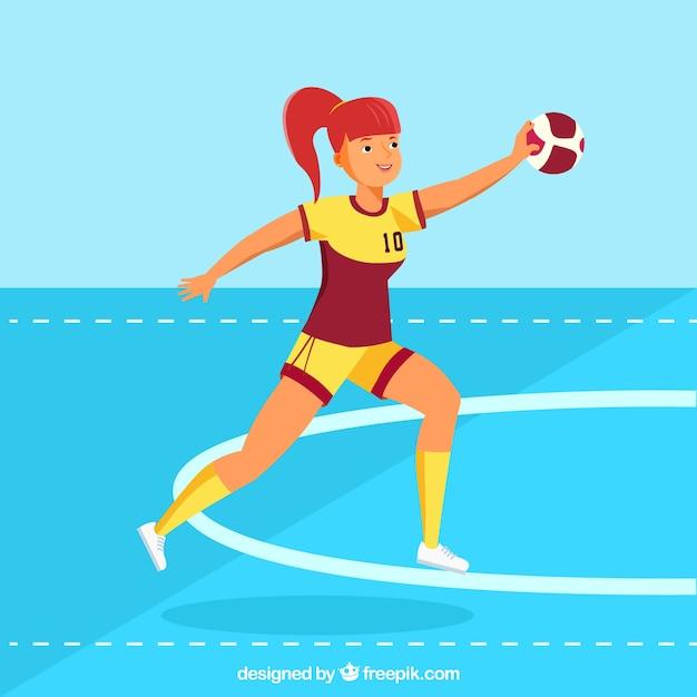 Professional  female handball player with flat design Free Vector