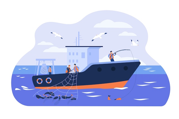Professional fishermen working in vessel isolated flat vector illustration. cartoon fishers catching fish and using net in ship. commercial fishing industry concept Free Vector