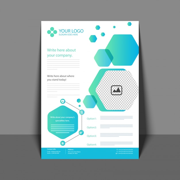 professional flyer in blue color  corporate brochure  annual report and cover design template