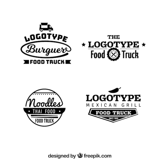 Professional food truck logos with modern style