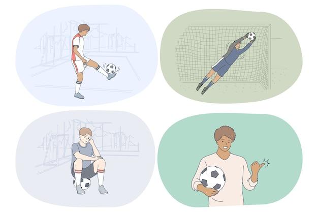 プロのサッカー選手、サッカーボールと試合のコンセプト。 Premiumベクター