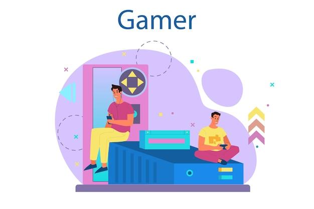プロのゲーマーのコンセプト。人はコンピュータのビデオゲームで遊ぶ。 eスポーツチーム、プロゲーム。バーチャルチャンピオンシップ。 Premiumベクター