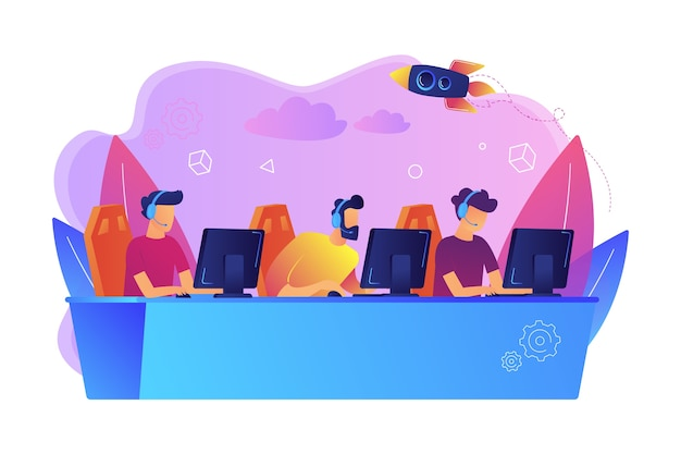 Professional gamers team with headsets at the table at computer playinng video games. e-sports team, group of gamers, pro gamers team concept. Free Vector
