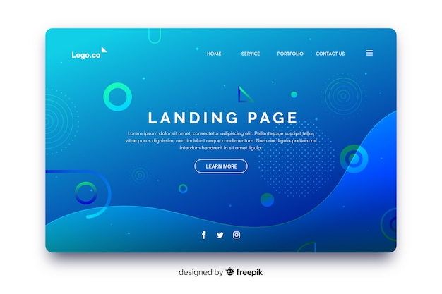 Free ui ux Vector | Professional geometric landing page with gradient