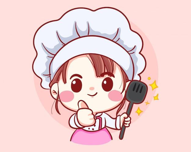 Профессиональная девушка шеф-повар с ковшом в руках, профессия, кухня, меню, кухня, посуда, кулинария, пекарня мультфильм искусства иллюстрации логотип. Premium векторы