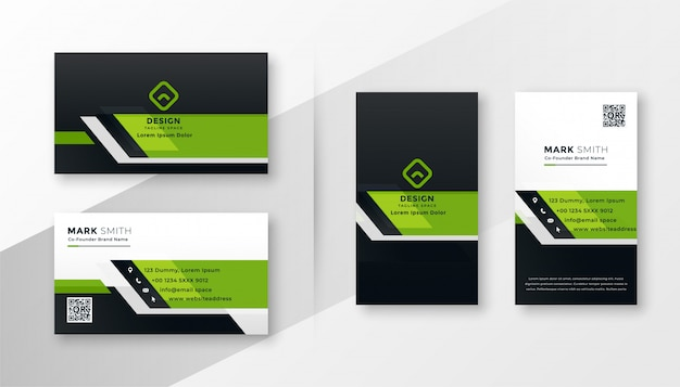 Professional green modern business card template set Free Vector