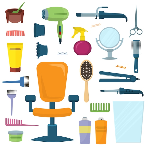 Professional hairdresser tools vector set. Premium Vector