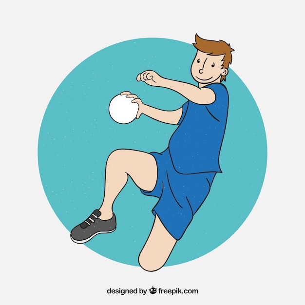 Professional hand drawn handball player Free Vector
