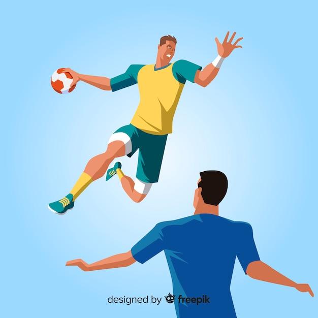 Professional handball player qith flat design Free Vector