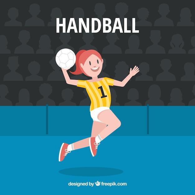 Professional handball player with flat design Free Vector