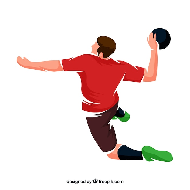 Professional handball player with flat design Free Vector