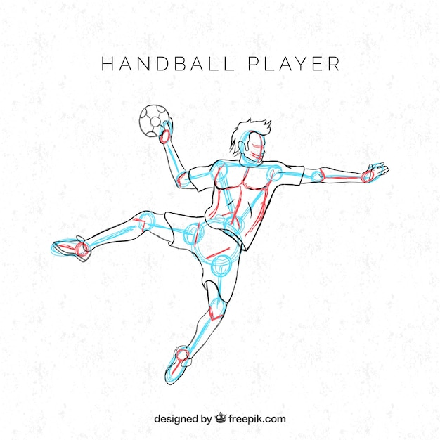 Professional handball player with hand drawn style Free Vector