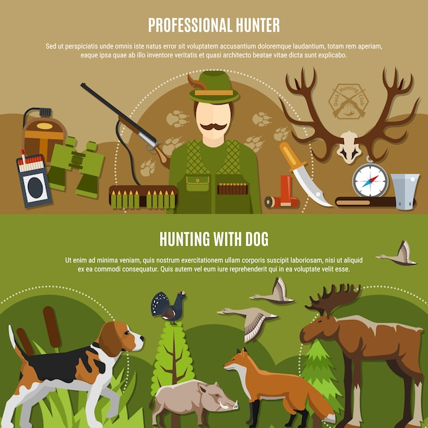 Professional hunter banners set Free Vector