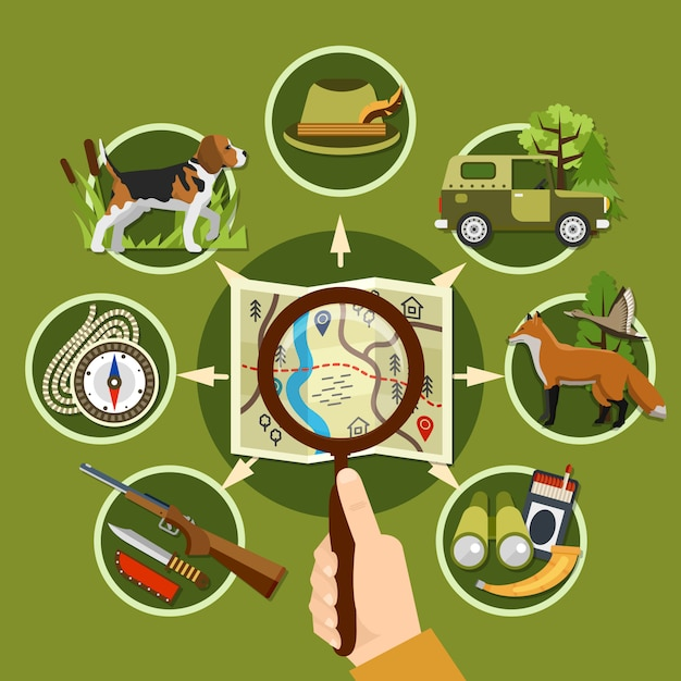 Professional hunter and equipment concept Free Vector