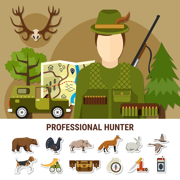 Professional hunter  illustration Free Vector