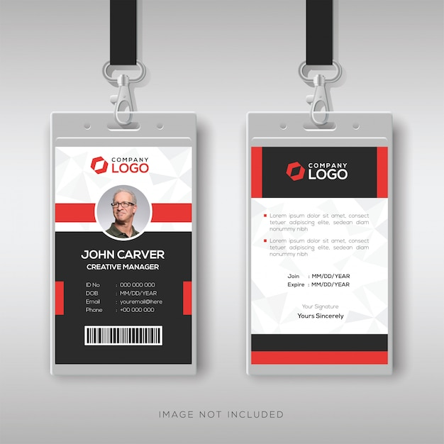 Professional id card with red details Premium Vector