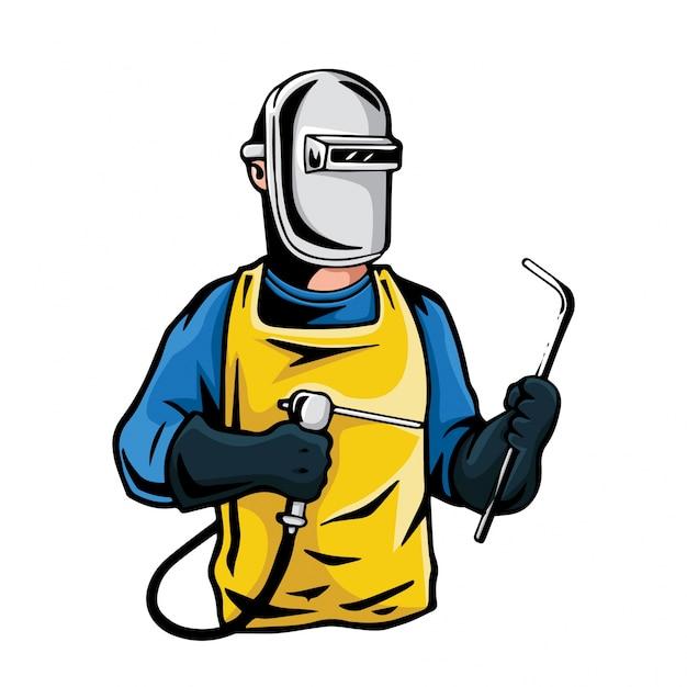 Иллюстрация персонажа профессиональных промышленных сварщиков | Премиум  векторы