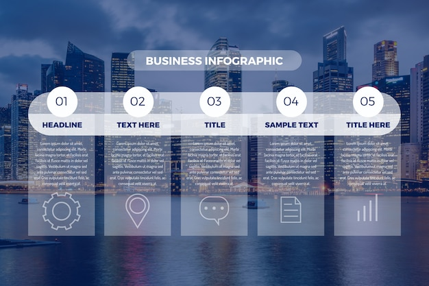 Professional infographic with photo Free Vector