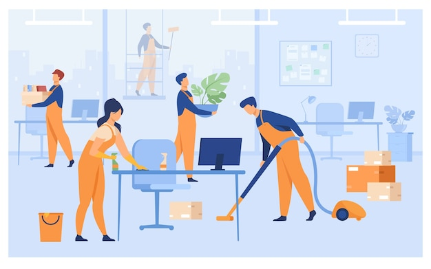 Professional janitors working in office isolated flat vector illustration. cartoon cleaning team washing, holding stuff, removing dust, using vacuum cleaner. Free Vector