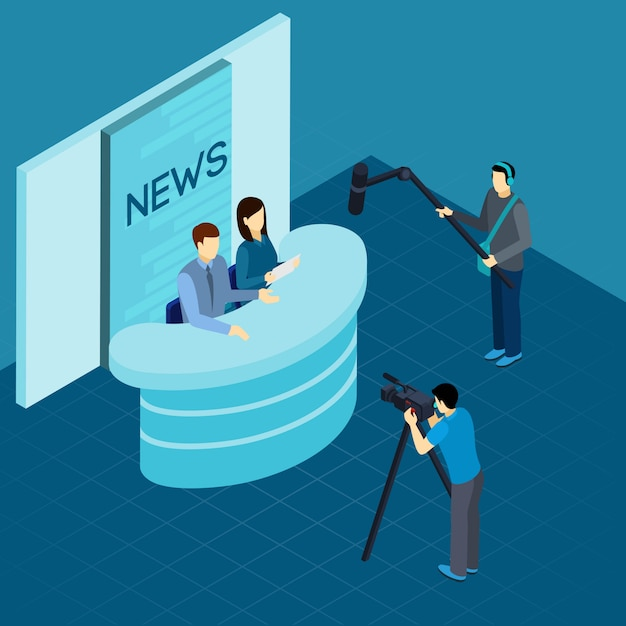 Professional journalists at studio isometric banner Free Vector