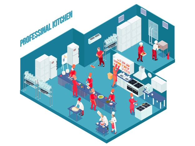 Professional kitchen in blue color with white grey furniture, equipment, utensils, staff in uniform isometric Free Vector